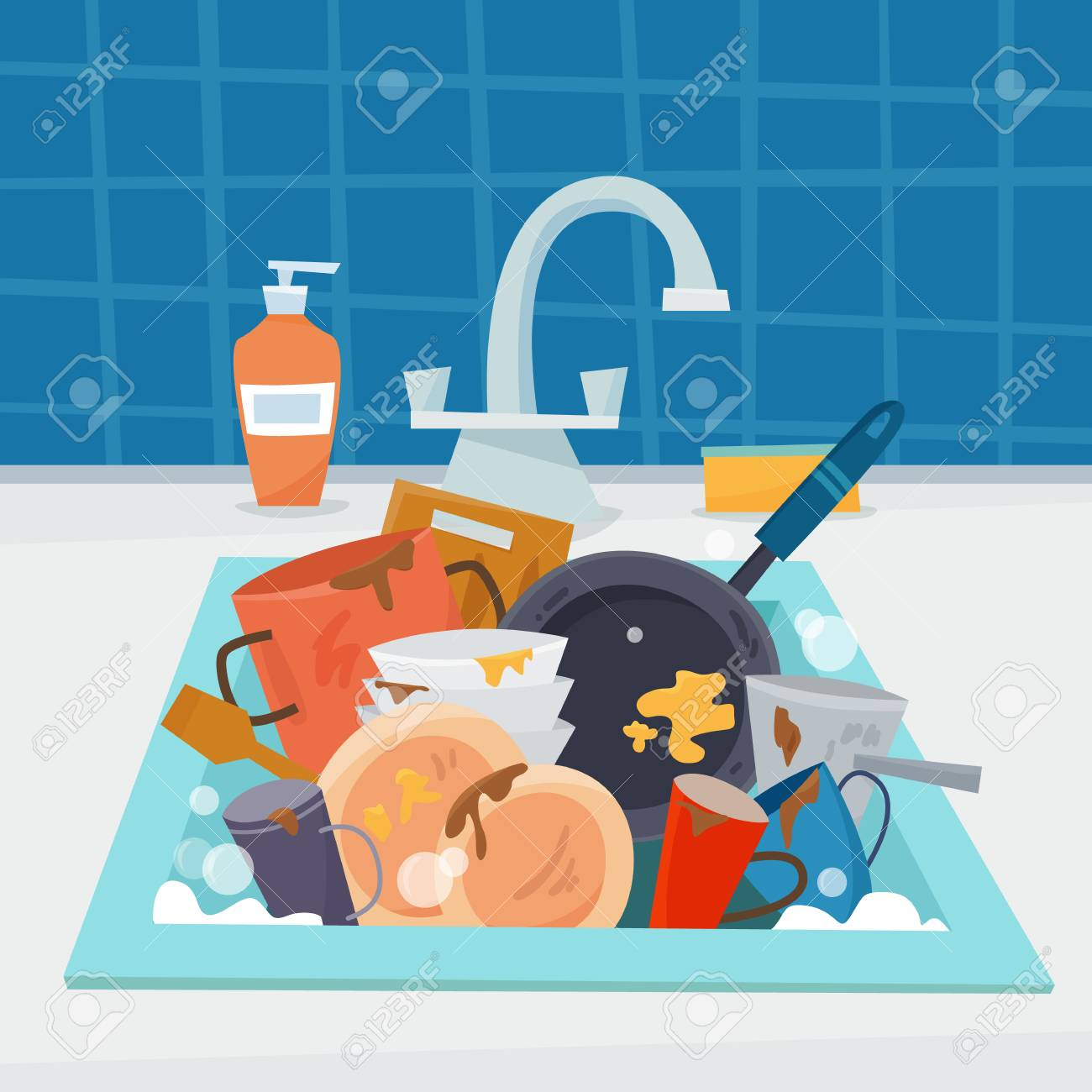 Sink with dirty kitchenware and dishes, utencil and sponge. - 97873318