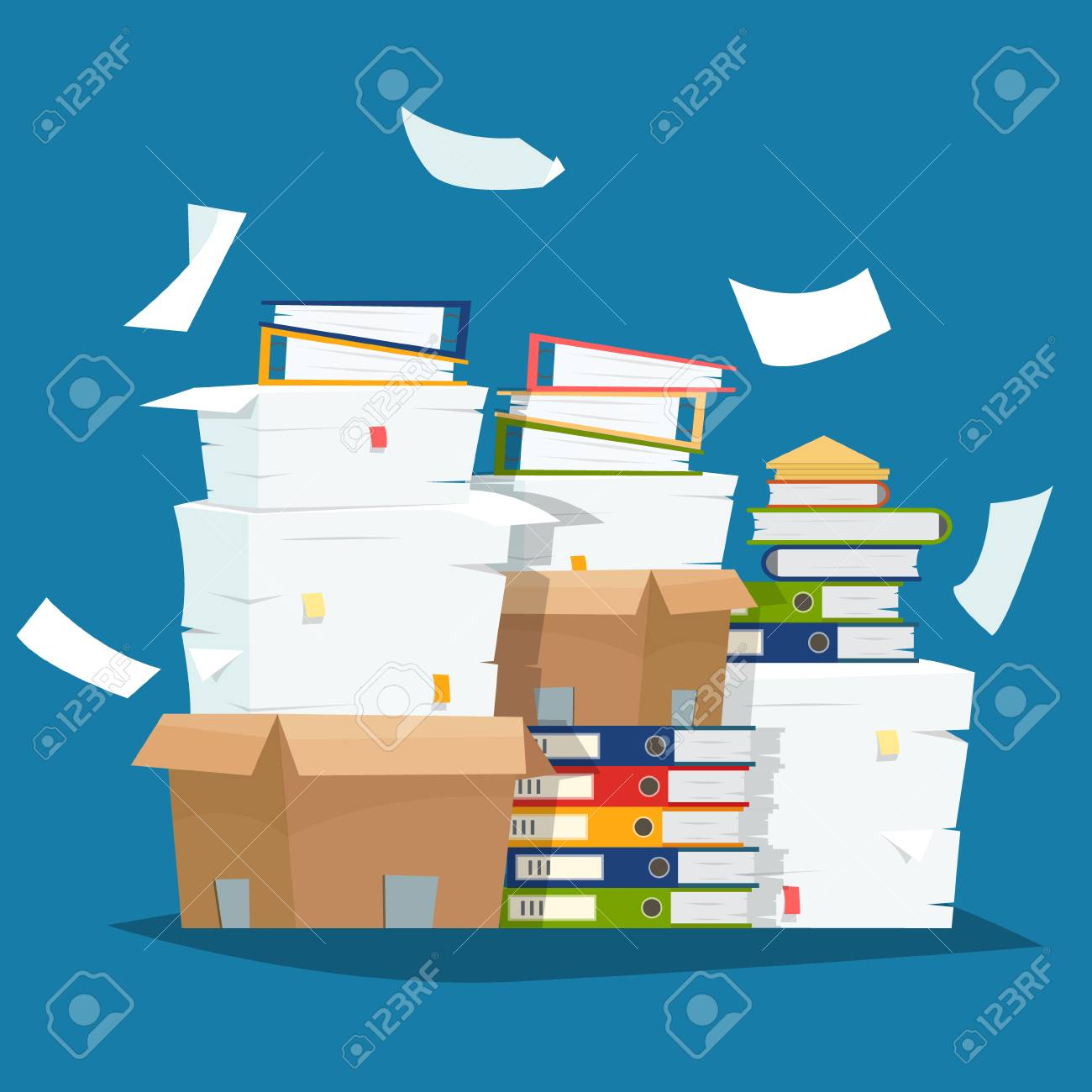 Pile of paper documents and file folders in carton boxes vector illustration - 97938565