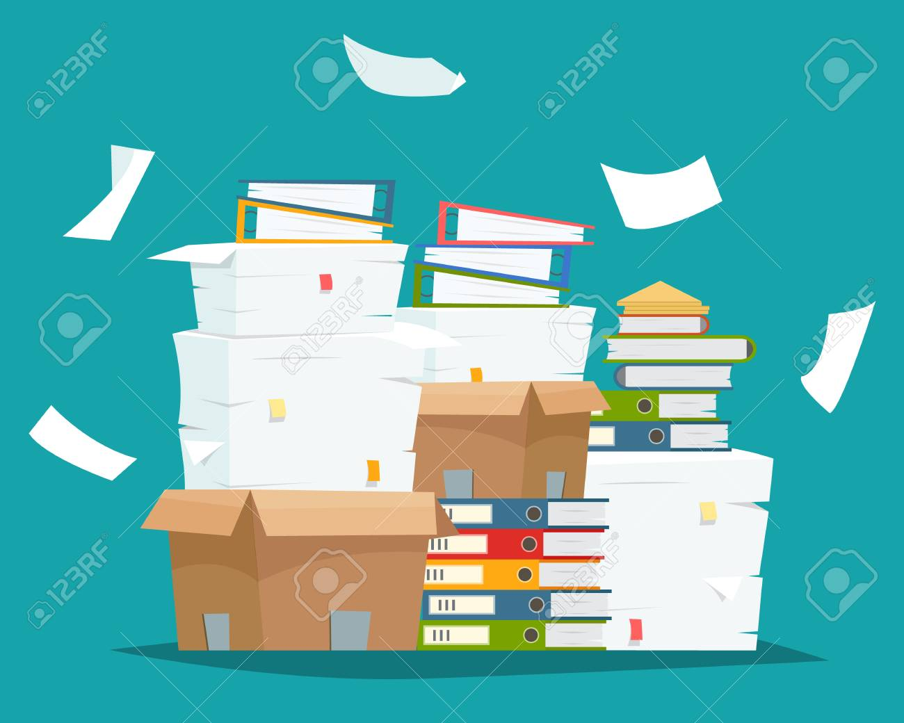 Pile of paper documents and file folders in carton boxes. - 97873319