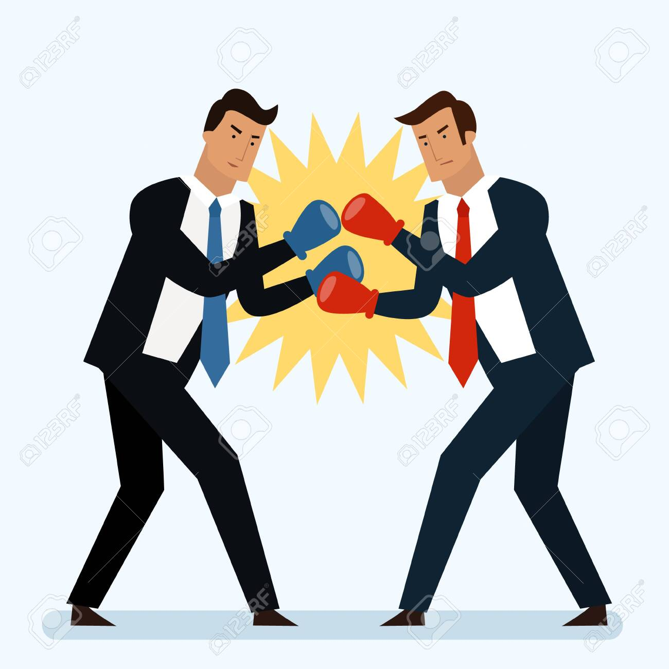 Businessmen are fighting in the ring concept. Boxing. Competotors. Flat style vector - 155035342