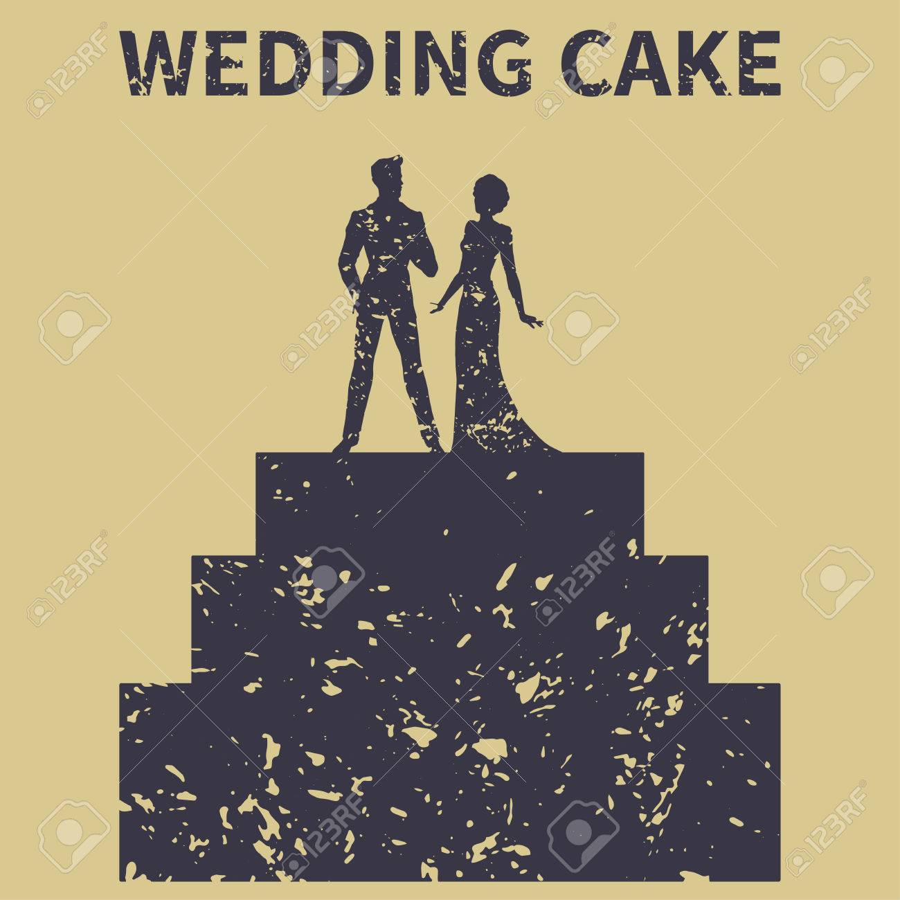Wedding Cake. Bride And Groom. Silhouette (vintage) Royalty Free ...