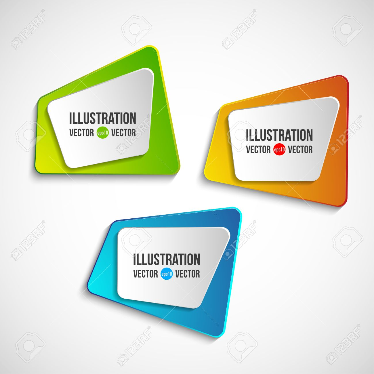 Origami Vector Banners Set. Abstract 3d Color Square Plastic ...