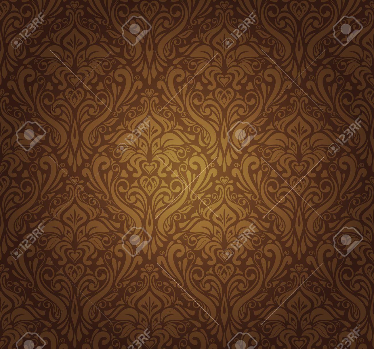 Dark Brown Vintage Wallpaper Design Stock Vector