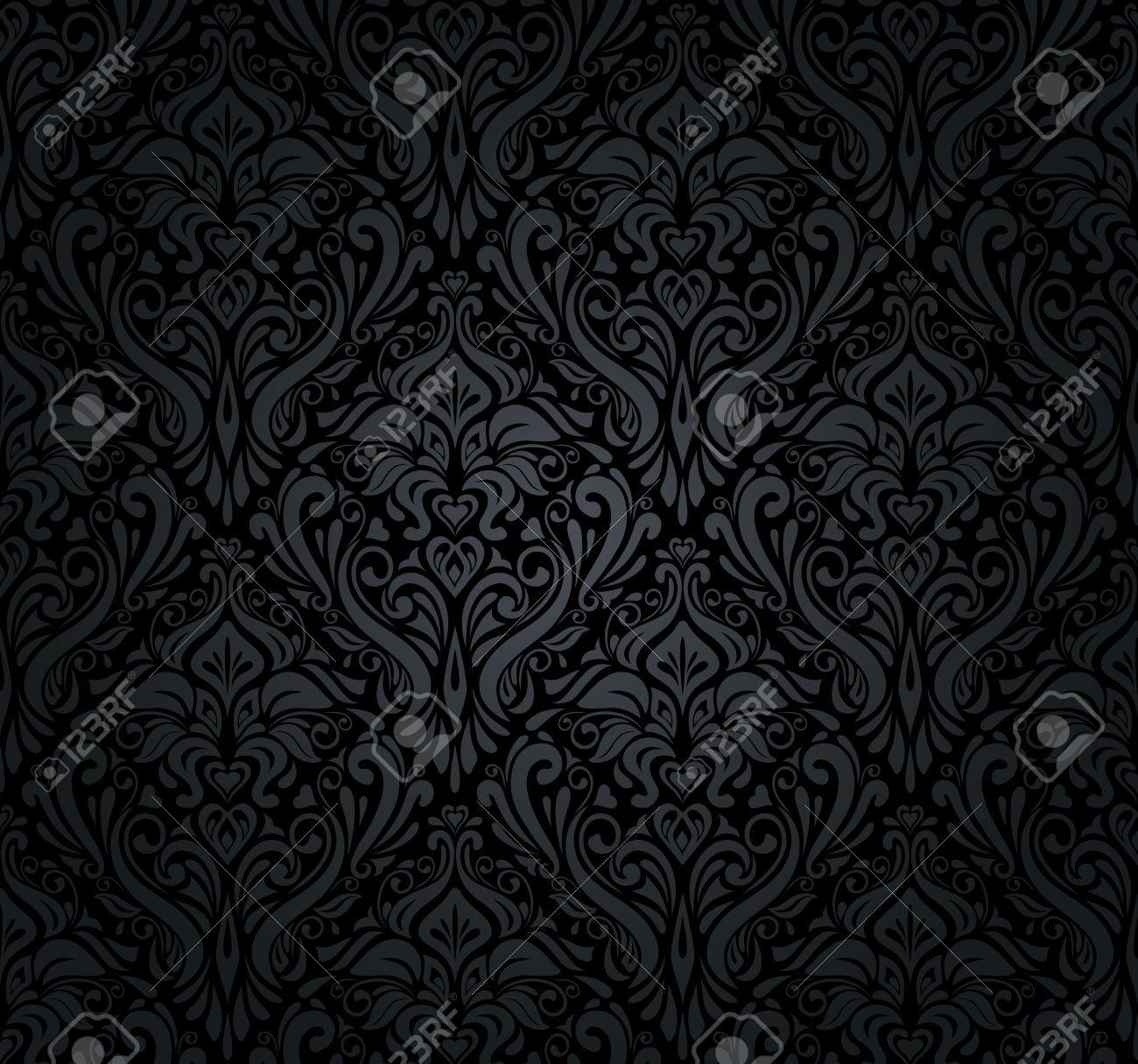 black vintage wallpaper royalty free cliparts, vectors, and stock