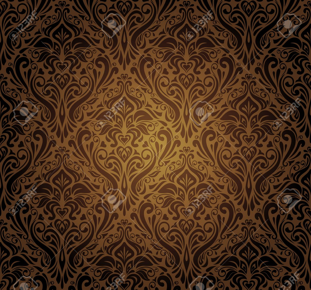 Dark Brown Vintage Wallpaper Design Stock Vector