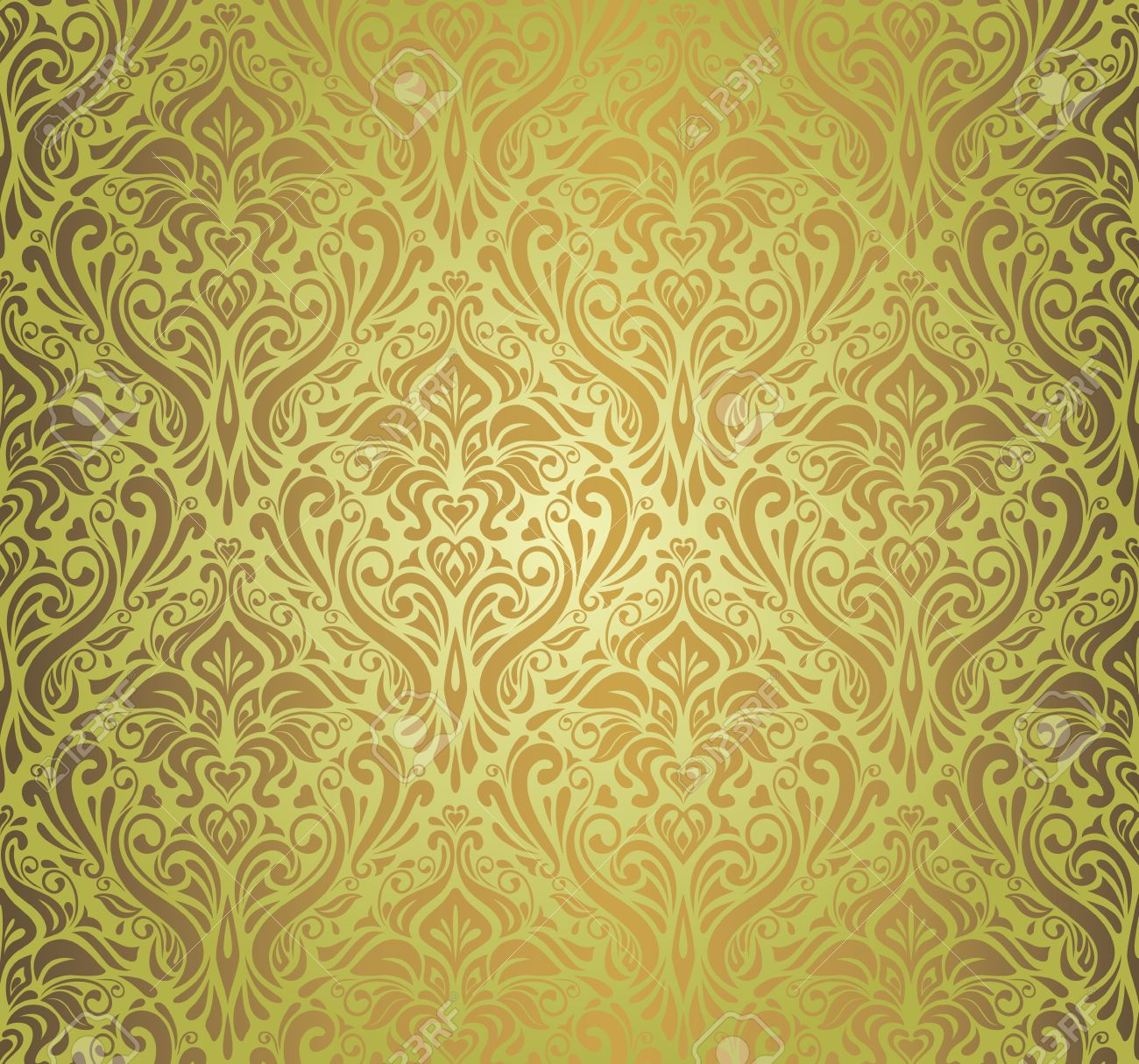 Green Brown Vintage Wallpaper Design Royalty Free Cliparts - Green and brown wallpaper