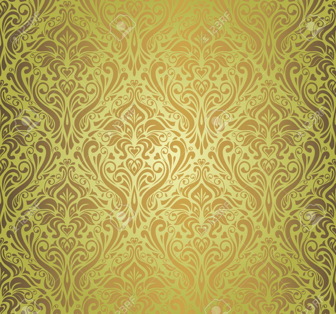 green brown vintage wallpaper design royalty free cliparts, vectors
