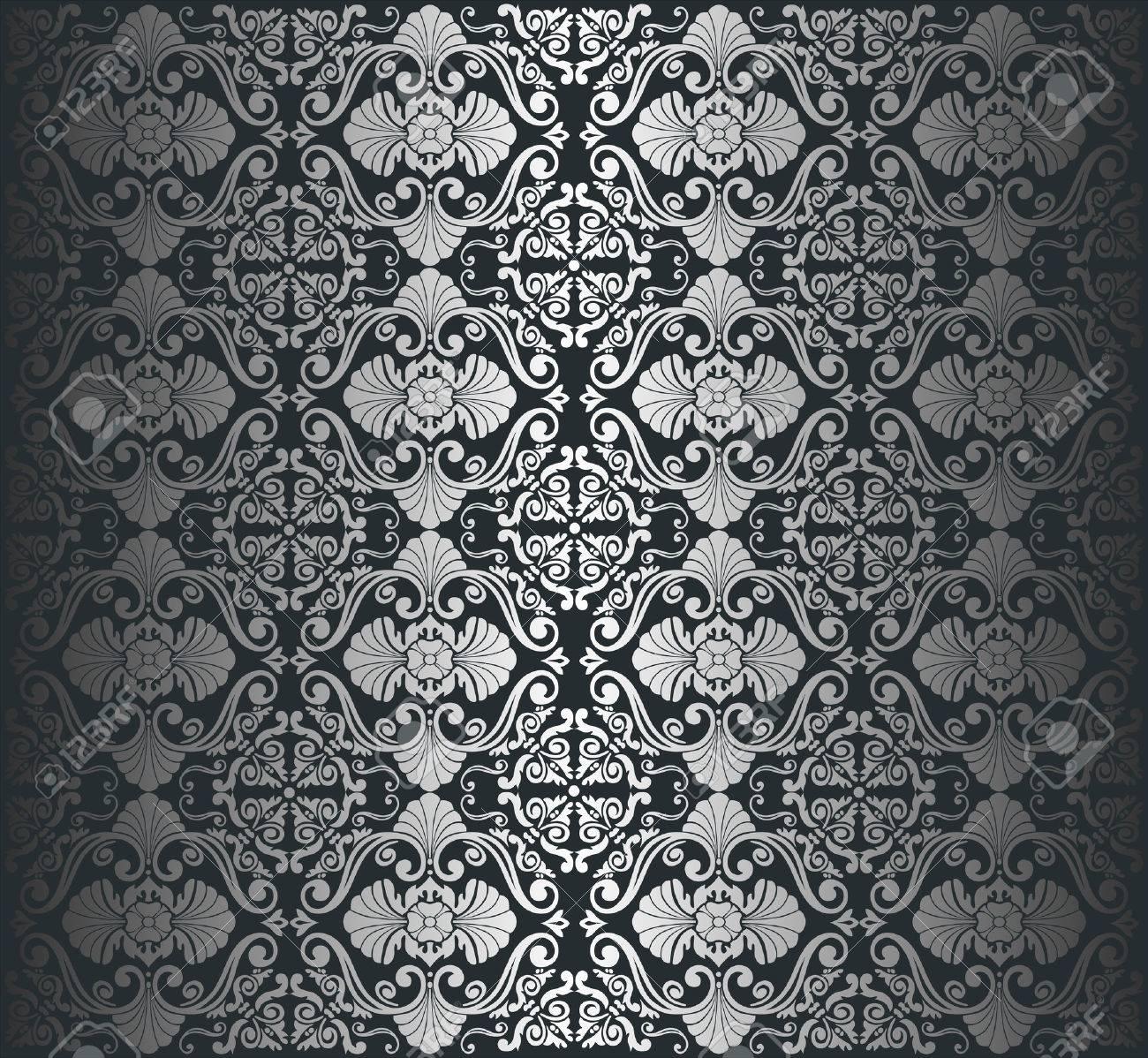 黒銀高級ビンテージ壁紙の背景のイラスト素材 ベクタ Image 26374261