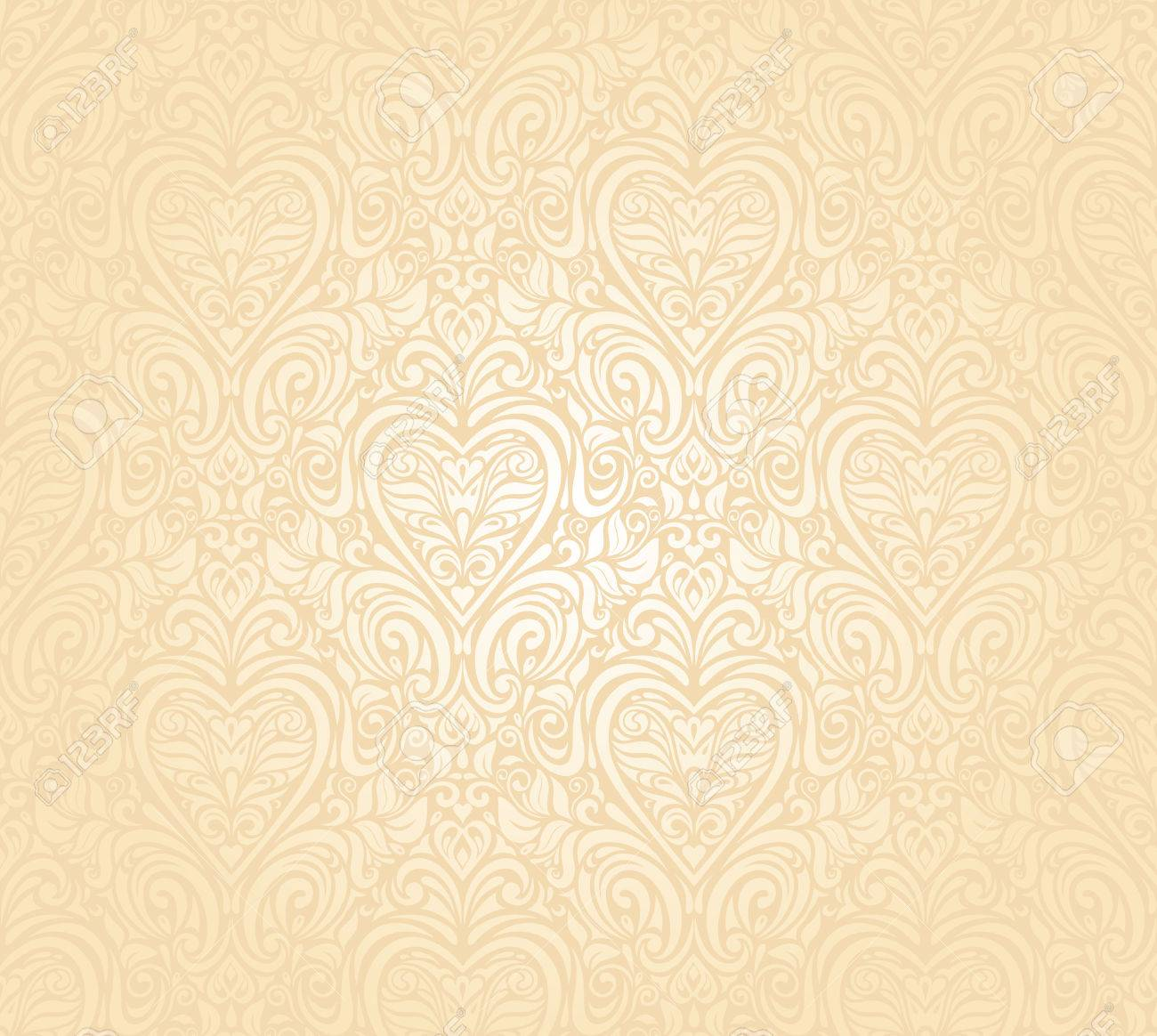 Gentle Peach Seamless Wedding Floral Background Royalty Free