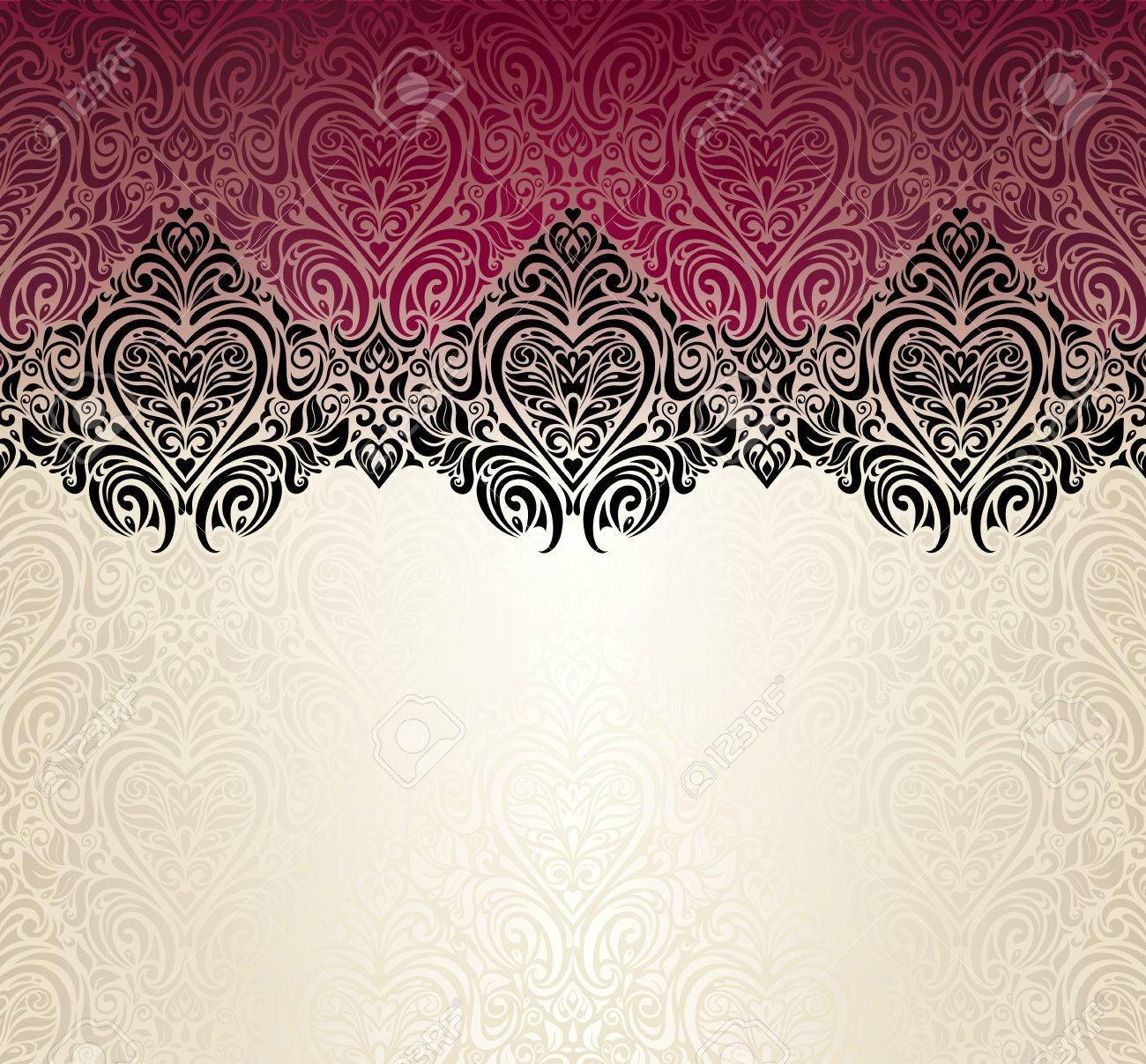 Fashionable red ecru and black vintage background design