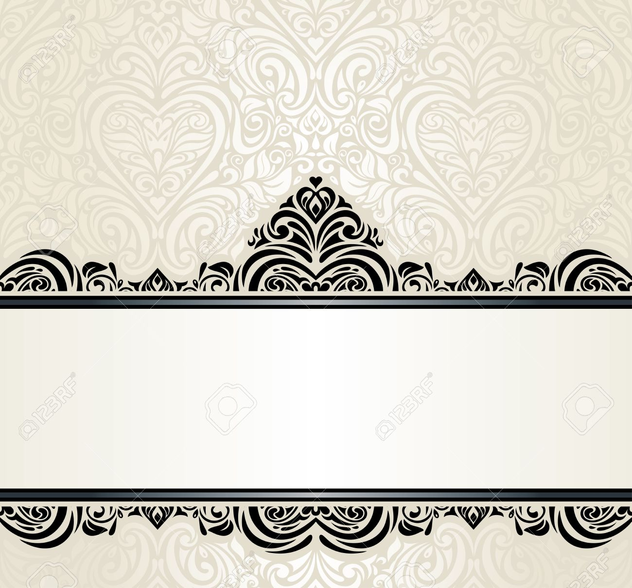 Wedding vintage ecru invitation design background with black vector wedding vintage ecru invitation design background with black ornaments stopboris Images