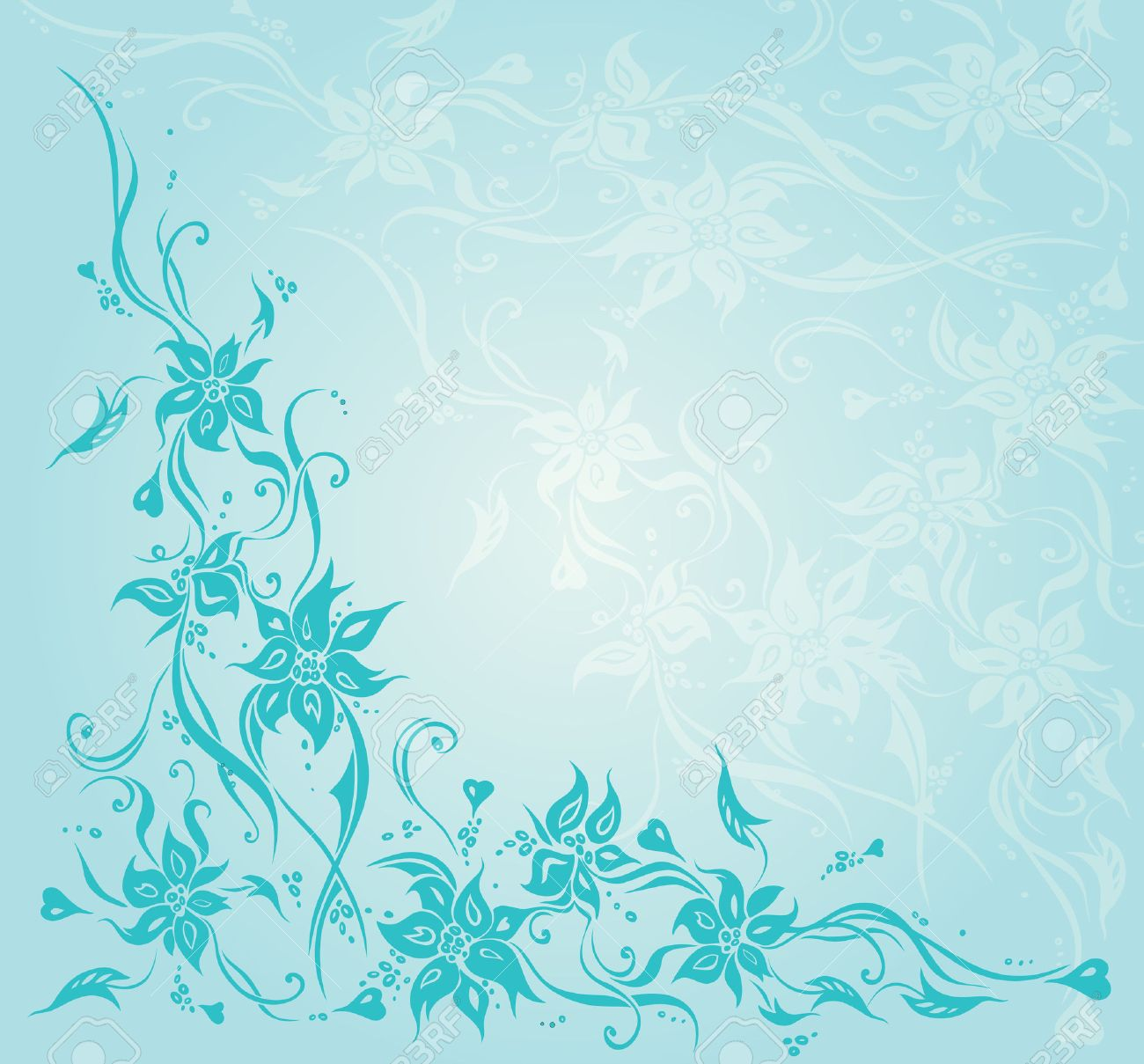 Turquoise Green Blue Vintage Floral Invitation Wedding Background Design Stock Vector