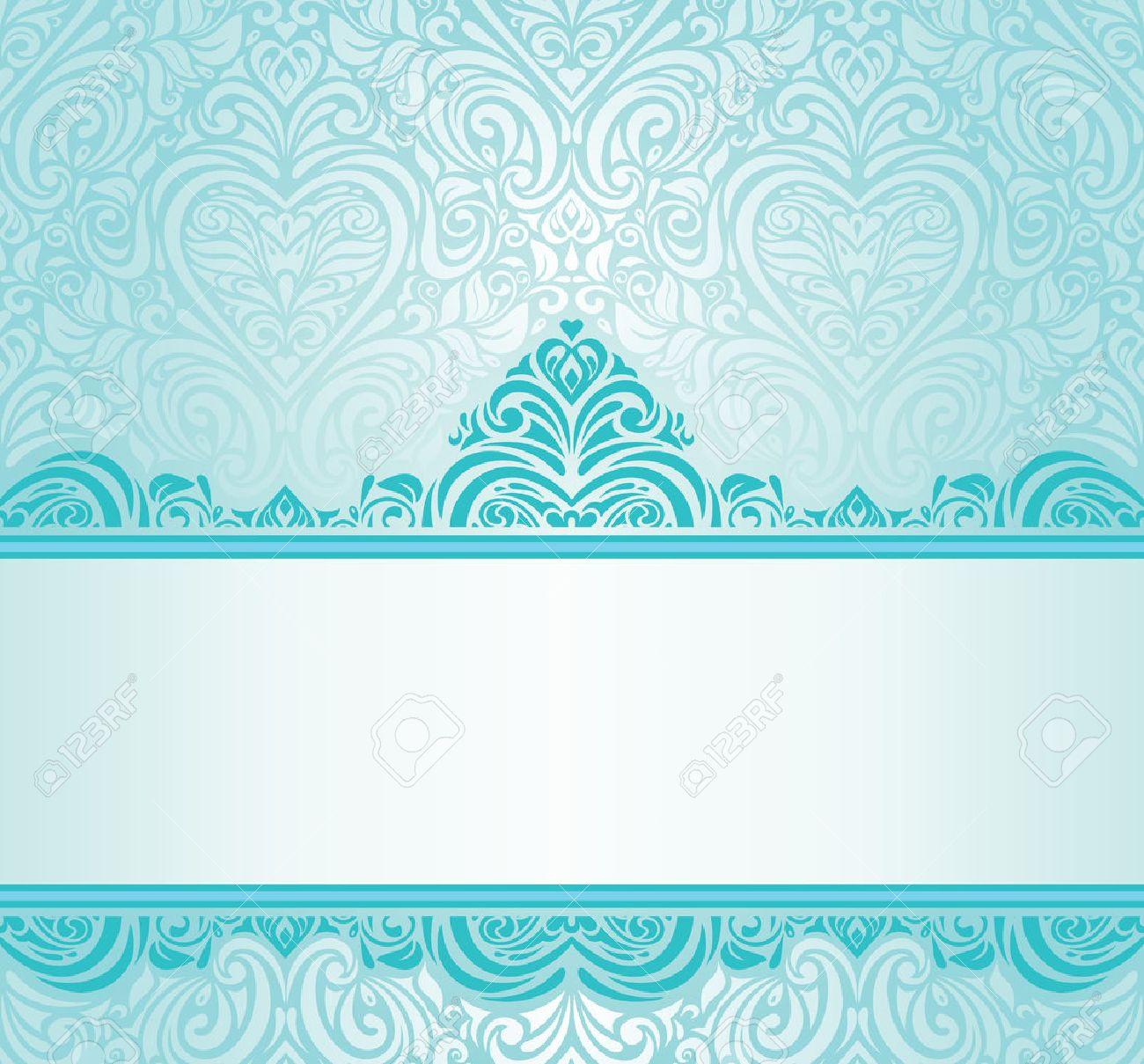 Hochzeit Vintage Turkis Einladung Design Mit Blau Grunen