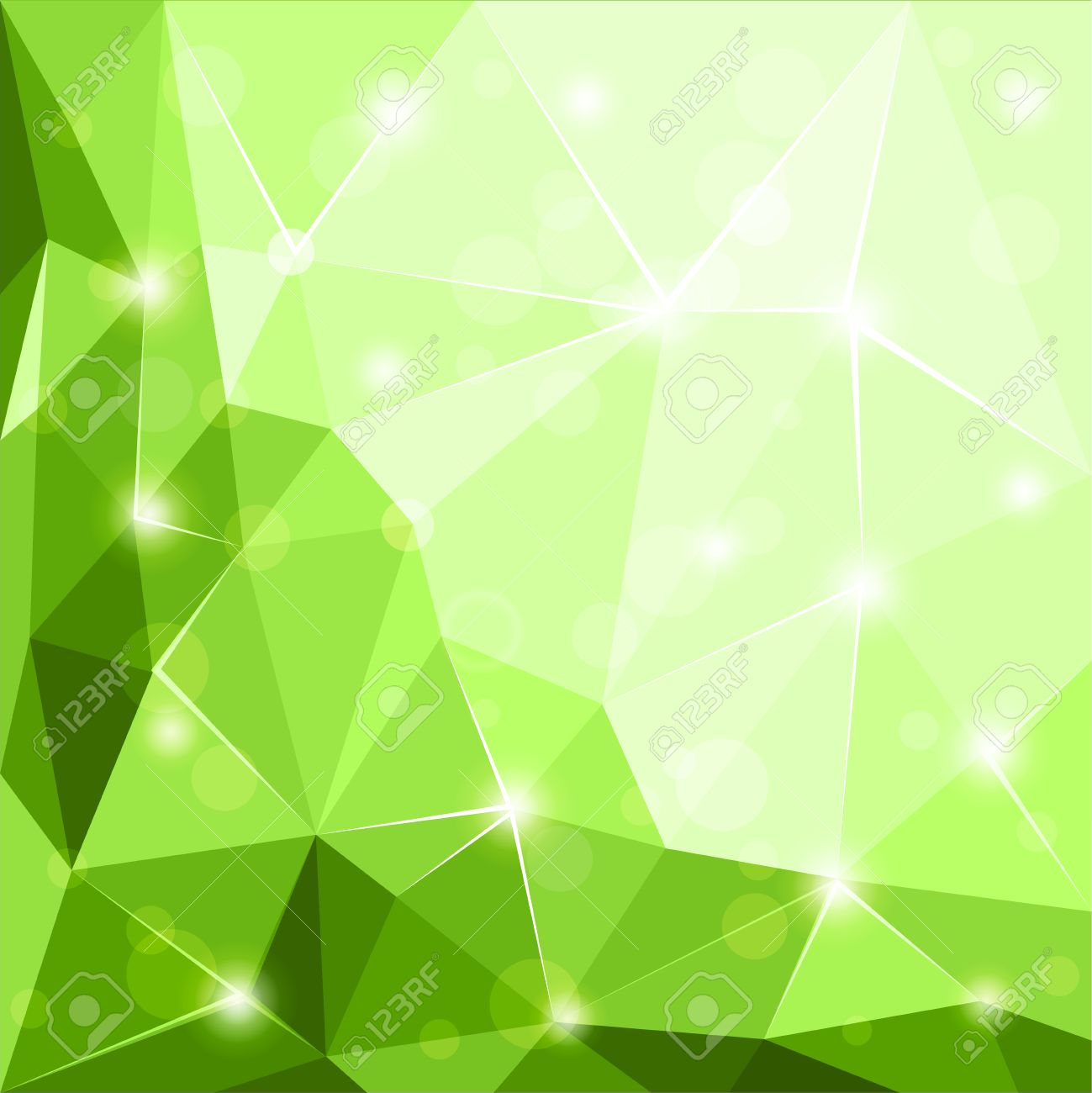 Abstract Polygonal Geometric Facet Shiny Green Background Wallpaper