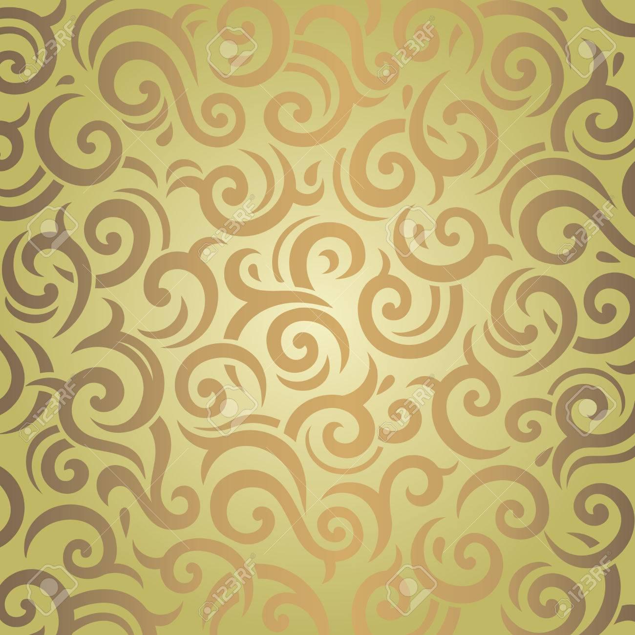 Grün, Braun, Vintage Tapete Retro Muster Design Standard Bild   53426354