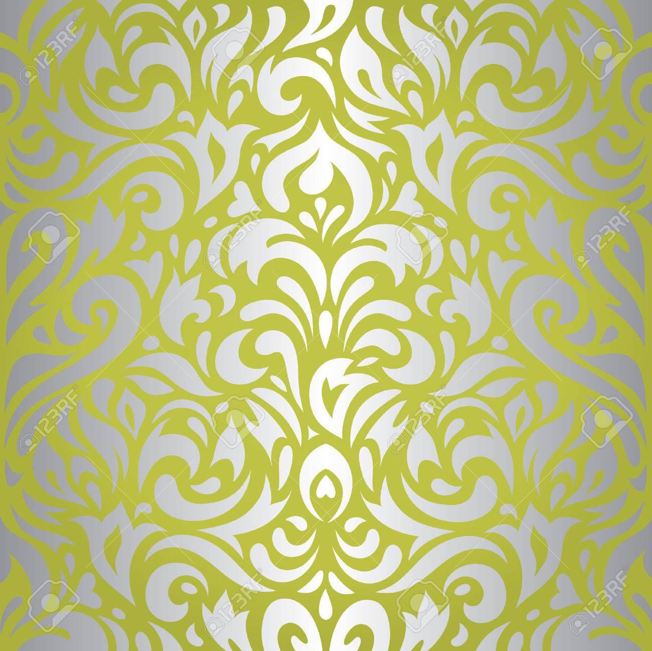 Floral Grun Silber Retro Tapeten Design Hintergrund Lizenzfrei