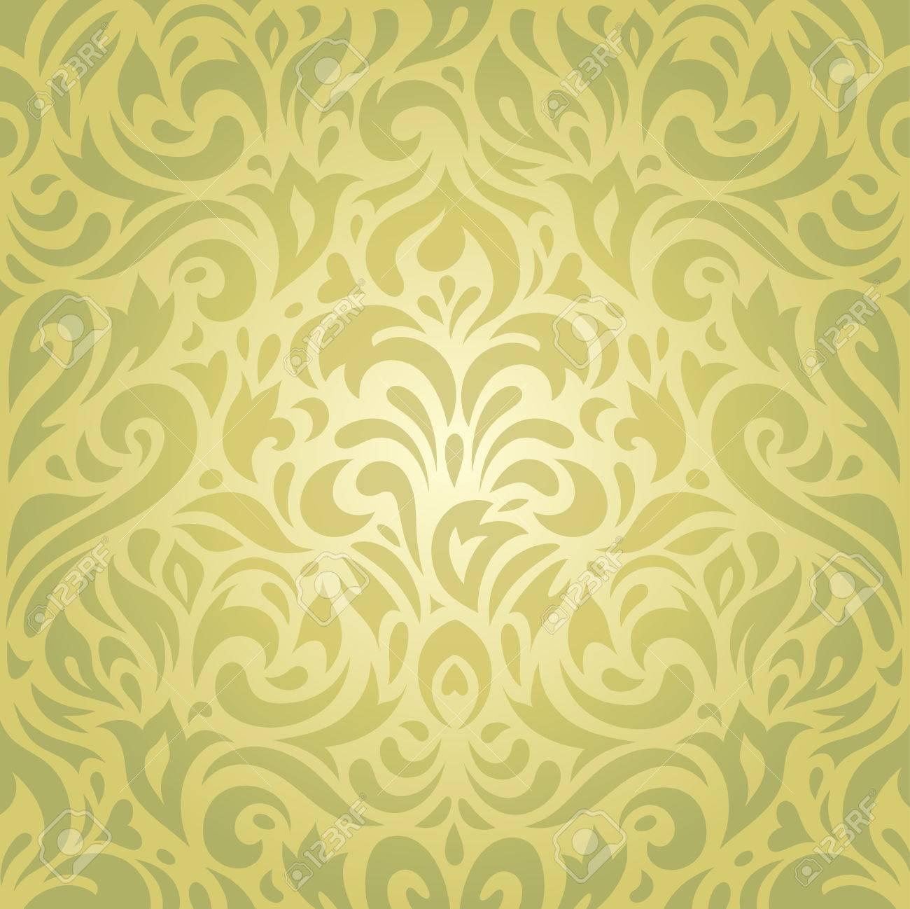 Floral Green Vintage Decorative Holiday Retro Wallpaper Vector ...