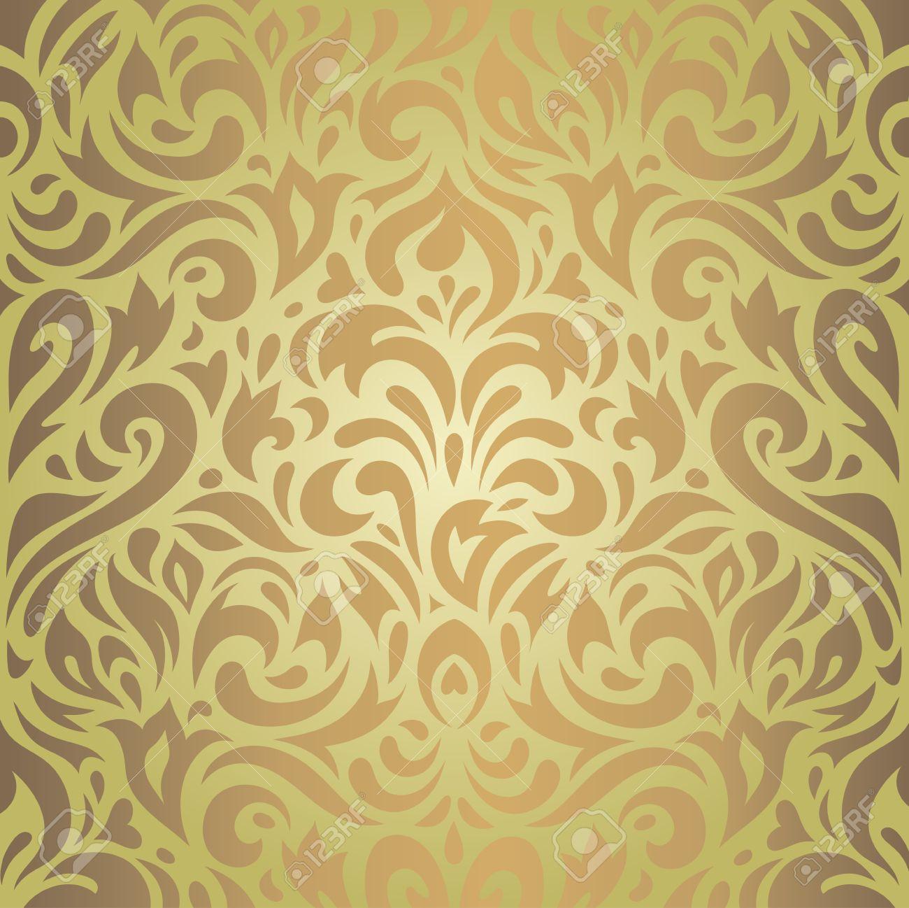 Brun Papier Peint Vintage Design Retro Vert Floral De Fond Clip Art