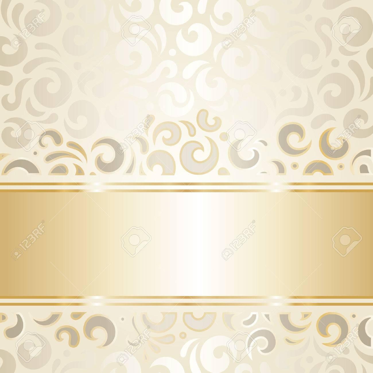 レトロなウェディング背景の壁紙デザイン ベージュ ゴールドのイラスト