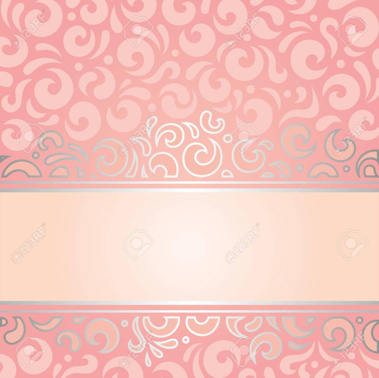 Retro Decorative Pink Silver Invitation Background Vintage Wallpaper