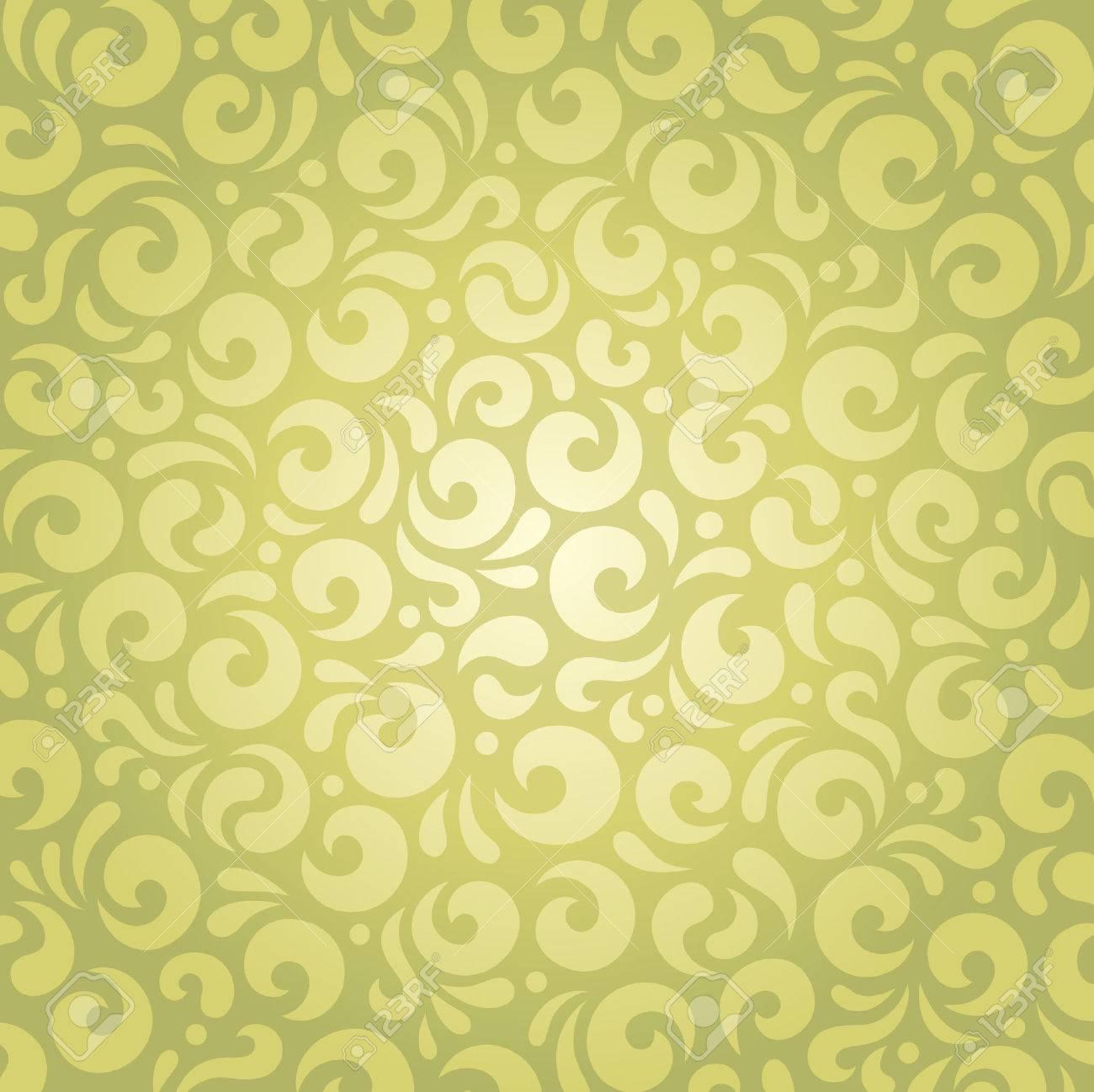 Retro Motif De Papier Peint Vintage Vector Design Decoratif Vert