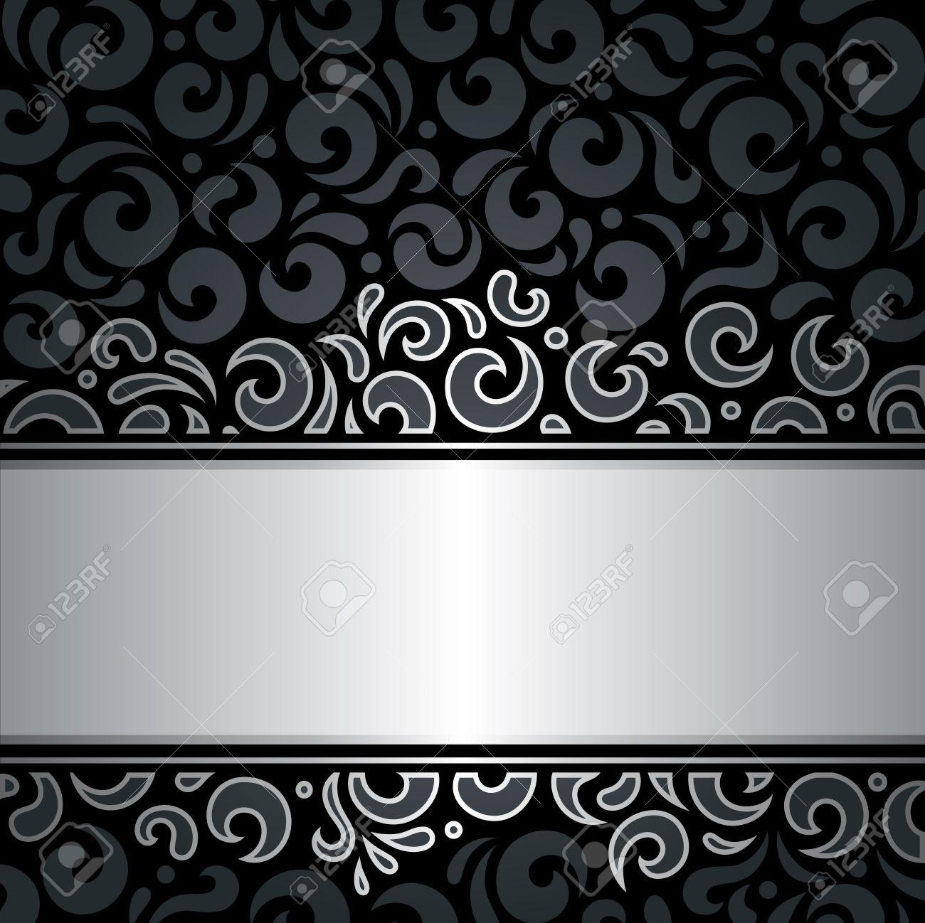 decorativo de lujo de plata negro de fiesta del vintage papel tapiz de fondo foto de