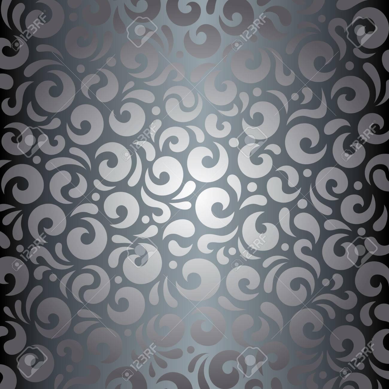 Silber Glanzende Vintage Tapete Dekorativen Hintergrund Lizenzfrei