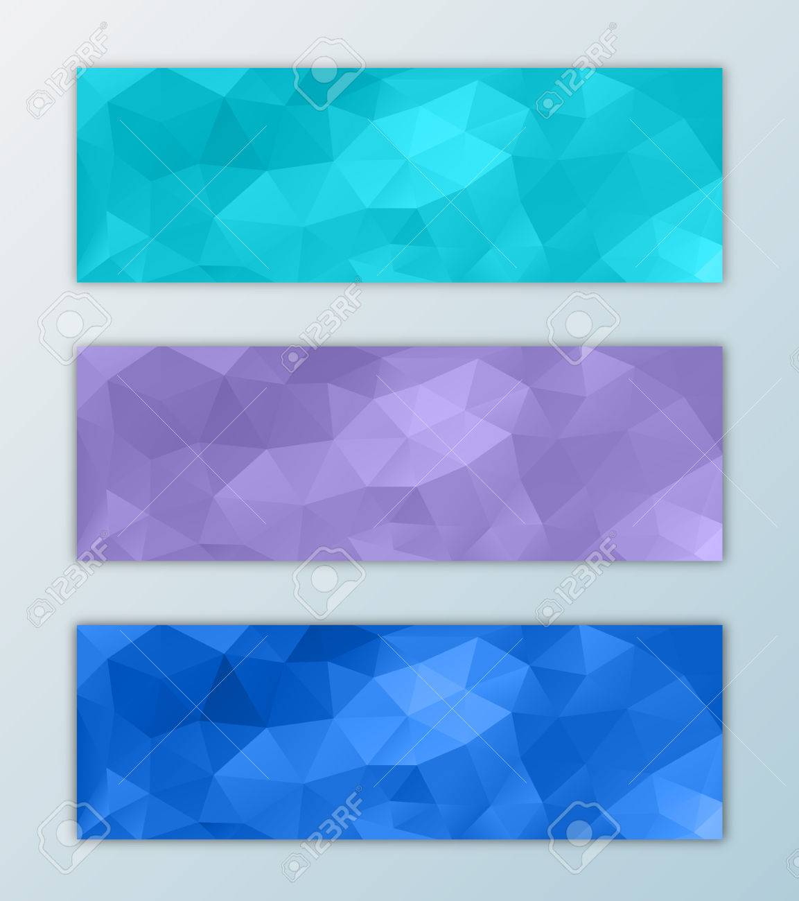 website header banner template set with triangle polygon background