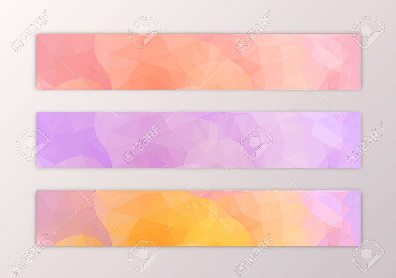 website banner template set with abstract triangle polygon