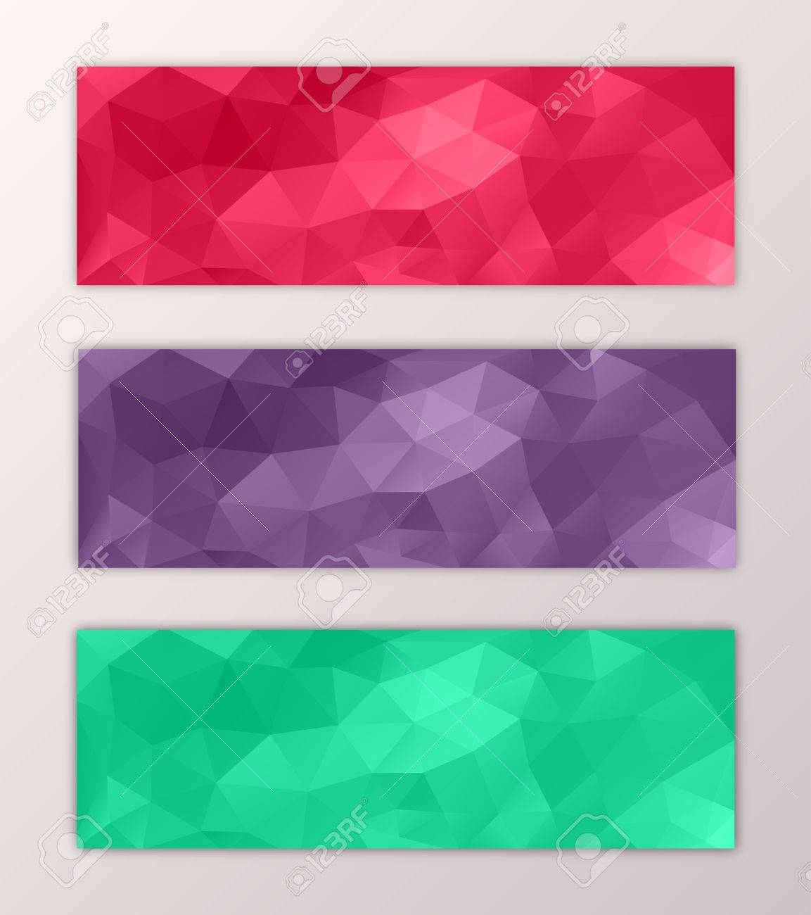 Website Banner Template Set With Abstract Triangle Polygon Colorful