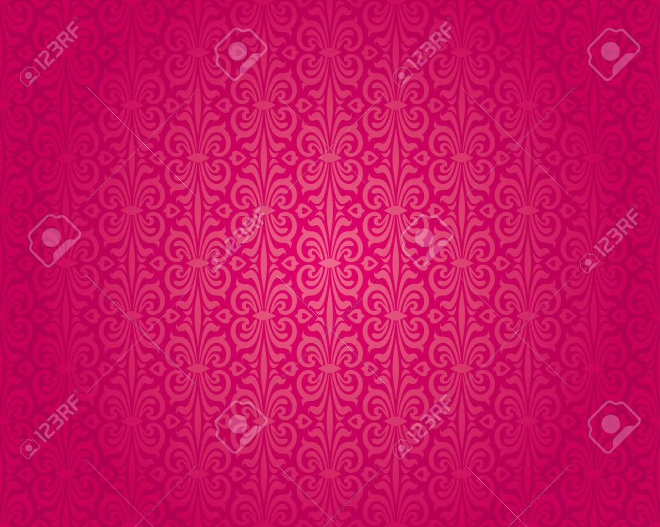 Retro Rouge Motif De Papier Peint Vintage Seamless Background Design