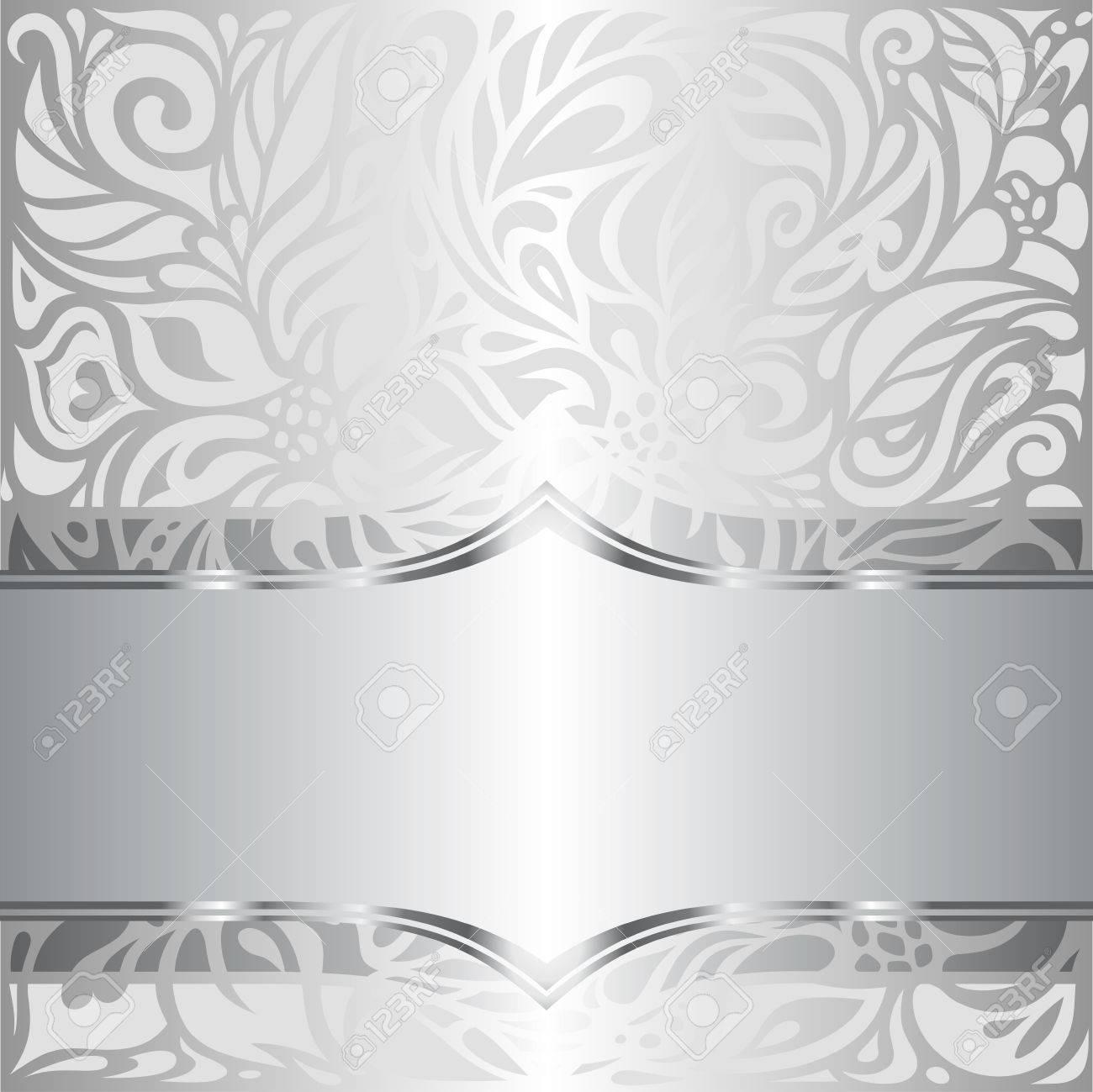 Silber Glanzend Floral Vintage Muster Tapeten Hintergrund Design