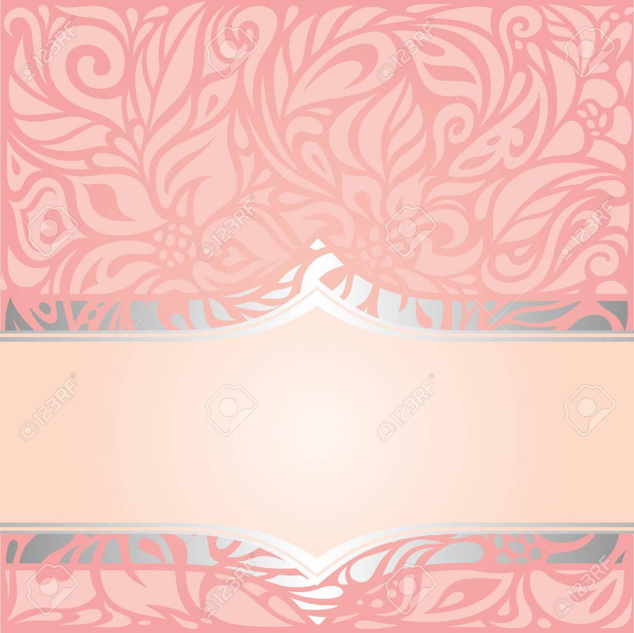 Pink Silver Retro Decorative Invitation Vintage Vector Wallpaper Design Stock
