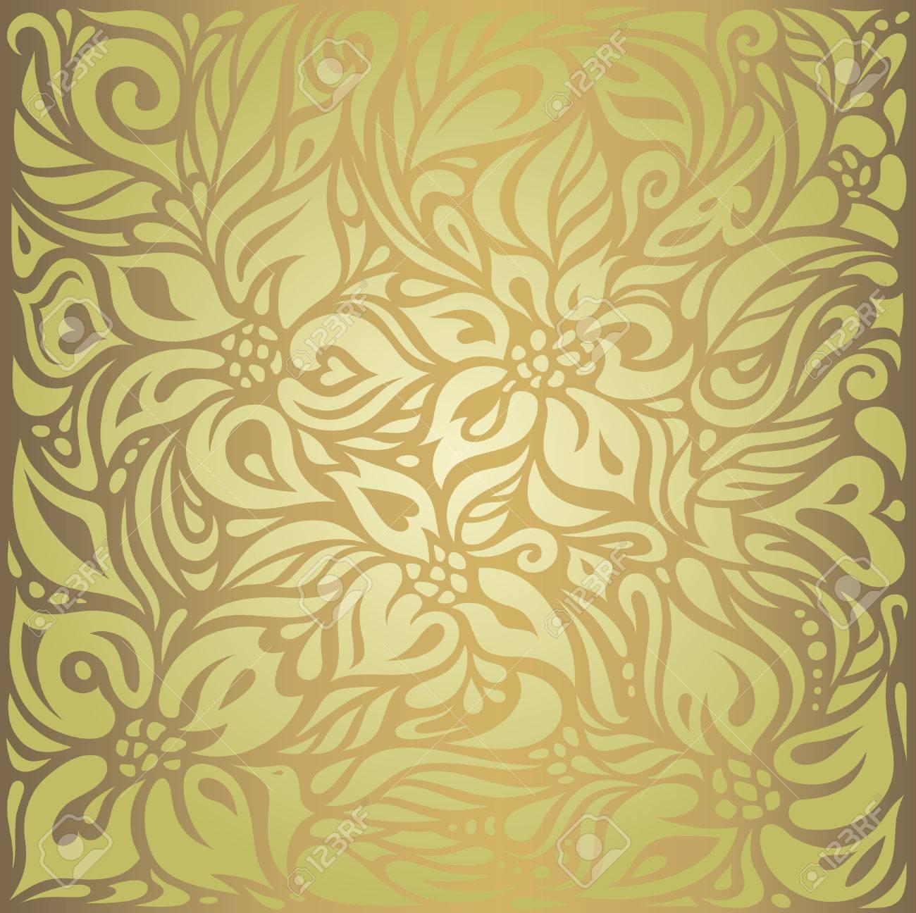 緑 茶色花柄ビンテージ ベクトルの壁紙デザインのイラスト素材