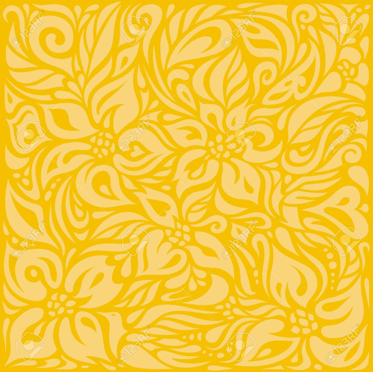 Yellow Colorful Floral Wallpaper Background Pattern Design Royalty