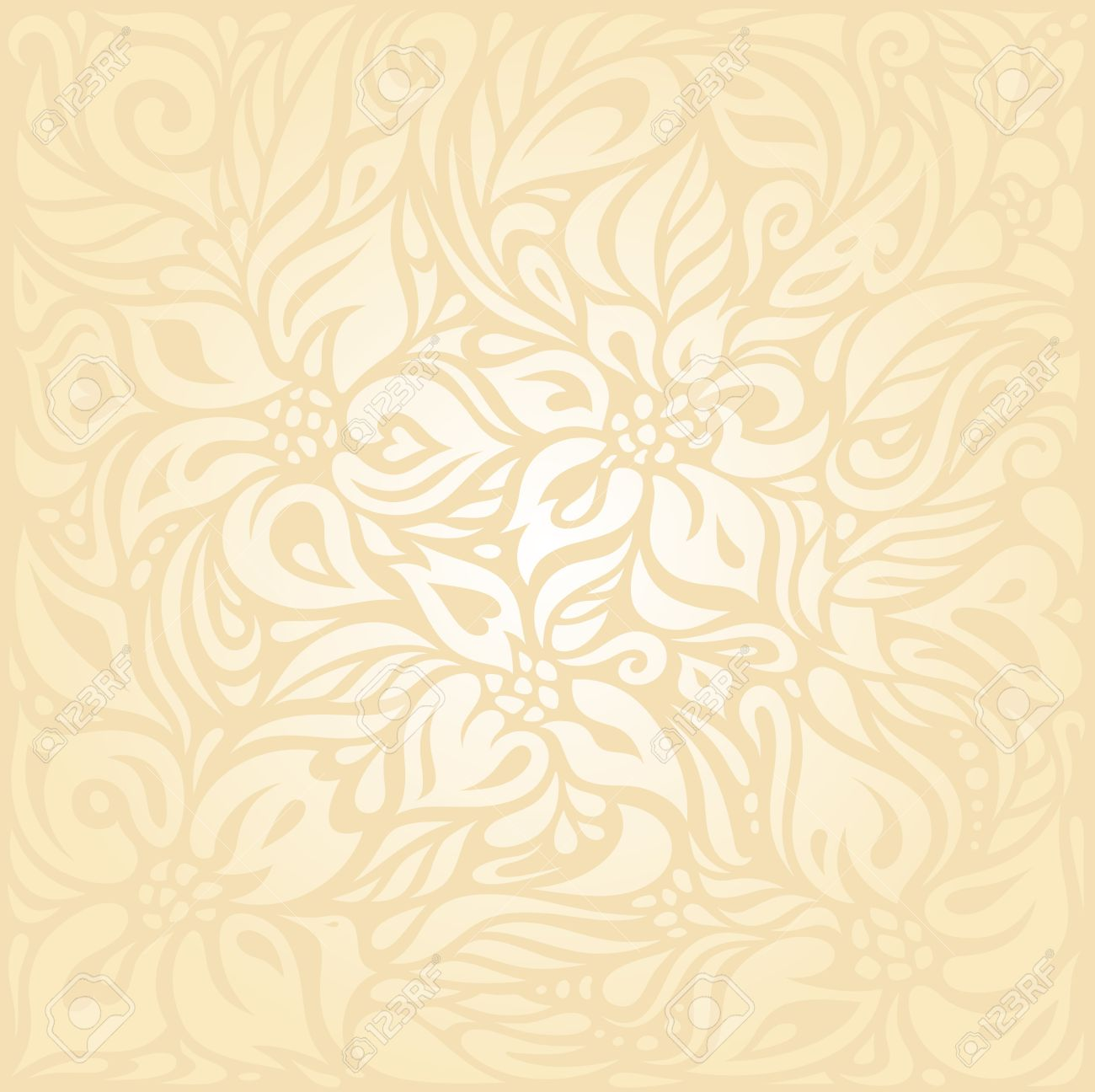 Floral Retro Wedding Pale Peach Invitation Background Design Royalty