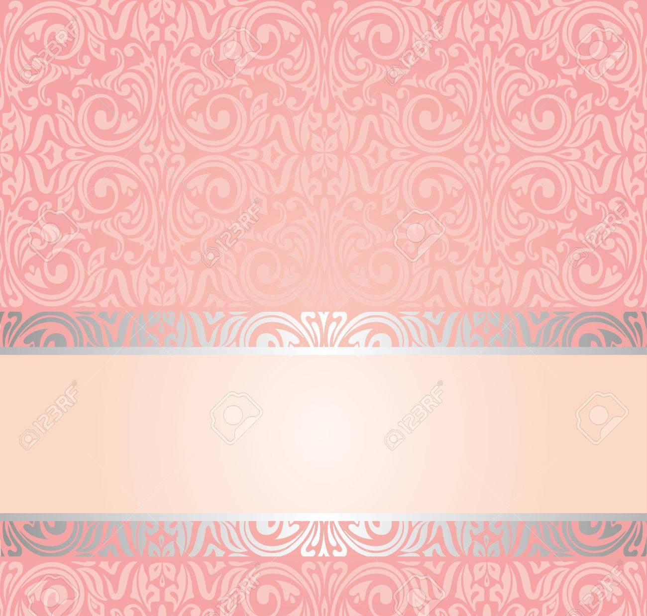 Pink Silver Gentle Invitation Vintage Wallpaper Design Background