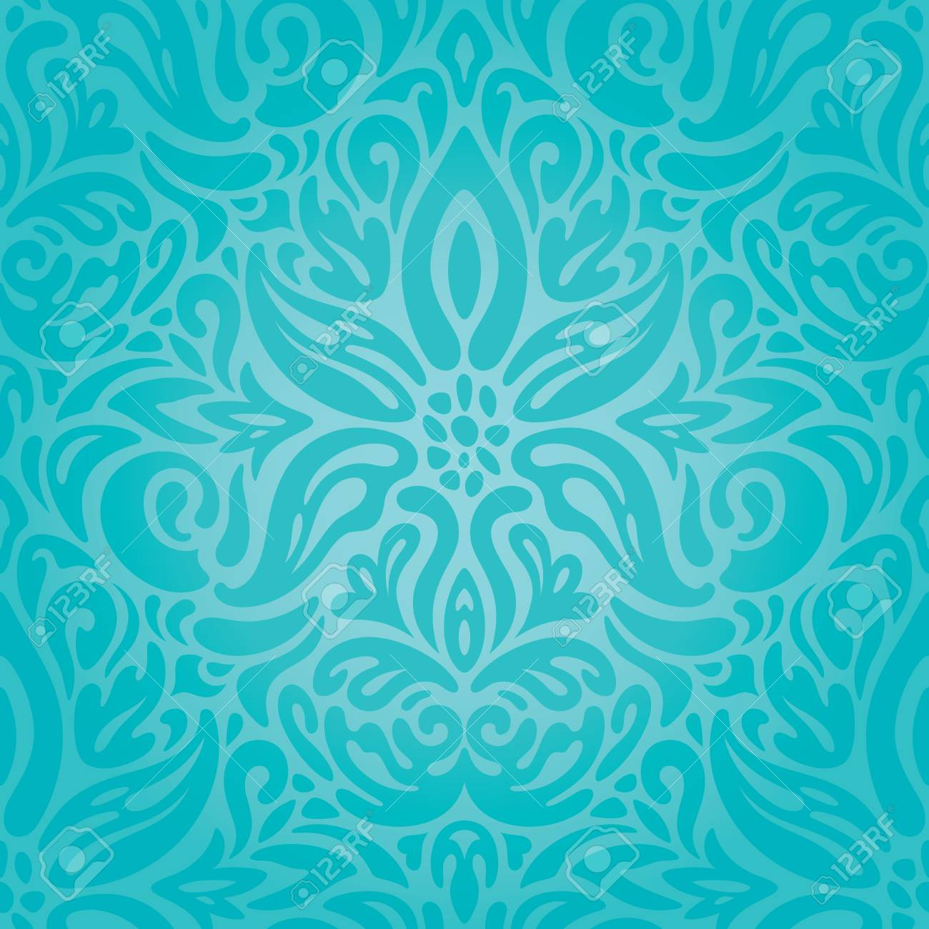 Turquoise Floral Holiday Vintage Background Wallpaper Green Blue