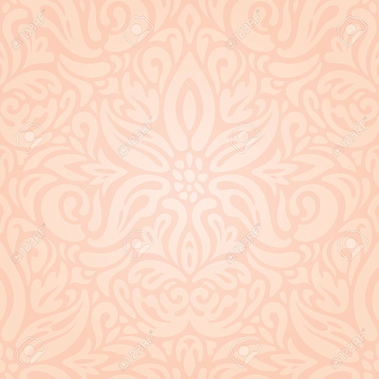 Wedding Floral Pale Ecru Pale Peach Decorative Vintage Pattern