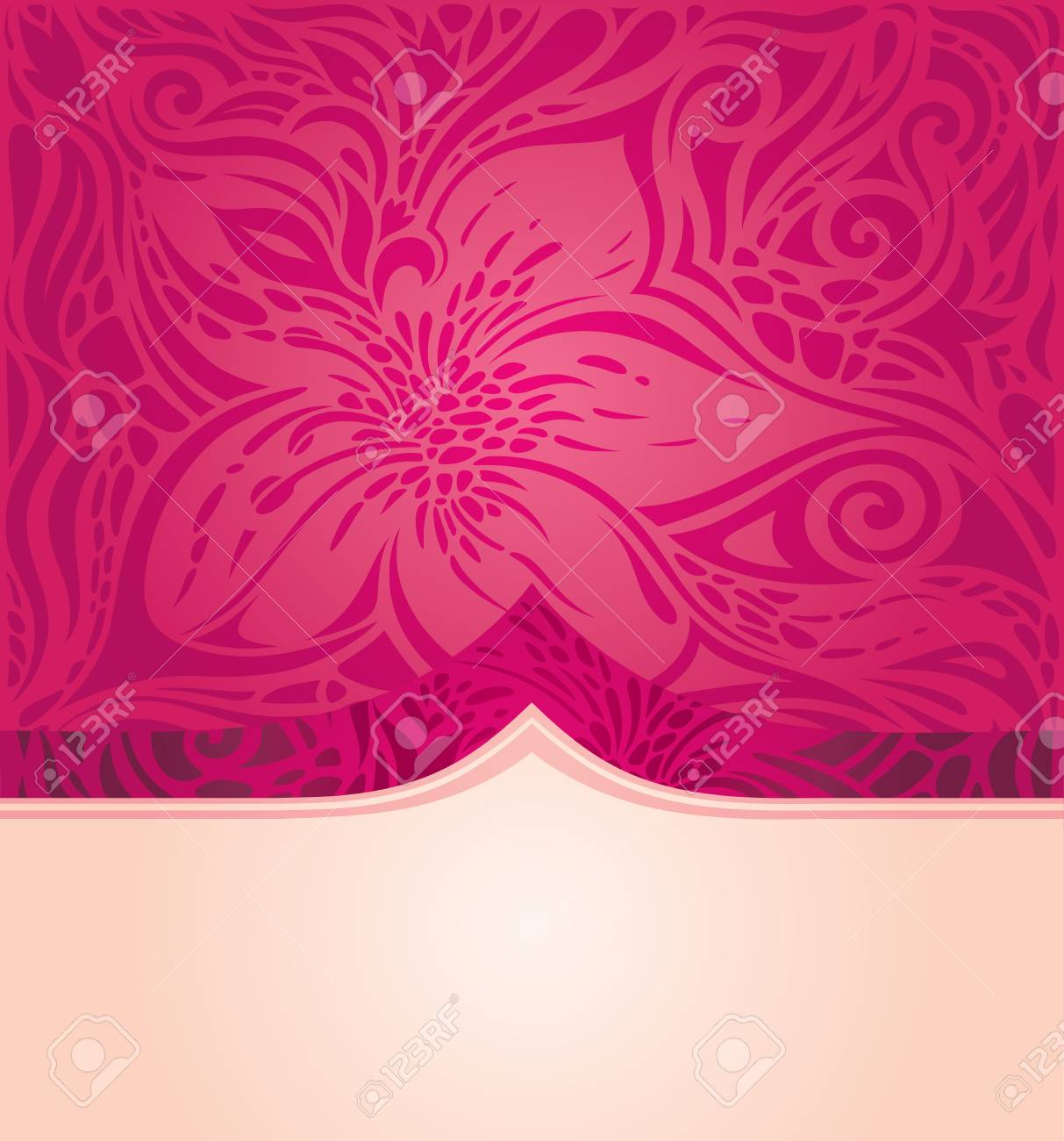 Red Floral Vector Pattern Wallpaper Background Trendy Fashion Design With Copy Space Stock