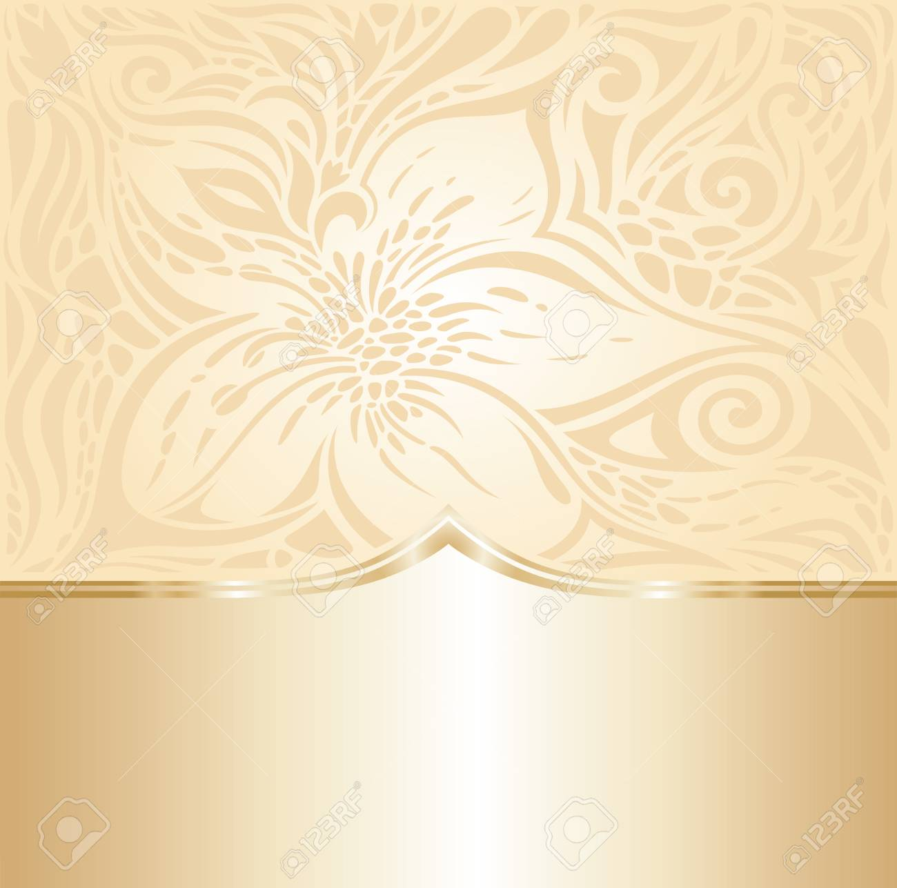 Floral Retro Wedding Pale Peach Background Design With Gold Copy
