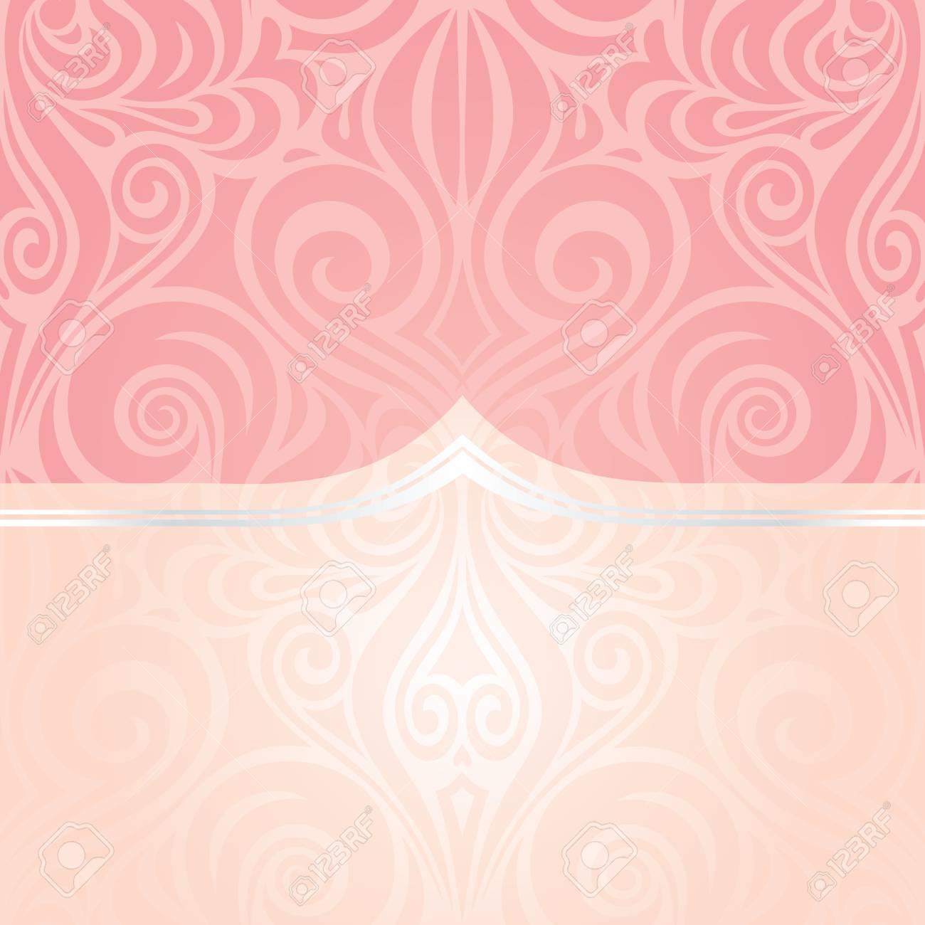 Pink Silver Wedding Retro Decorative Invitation Vector Wallpaper Trendy Fashion Mandala Design With Copy Space