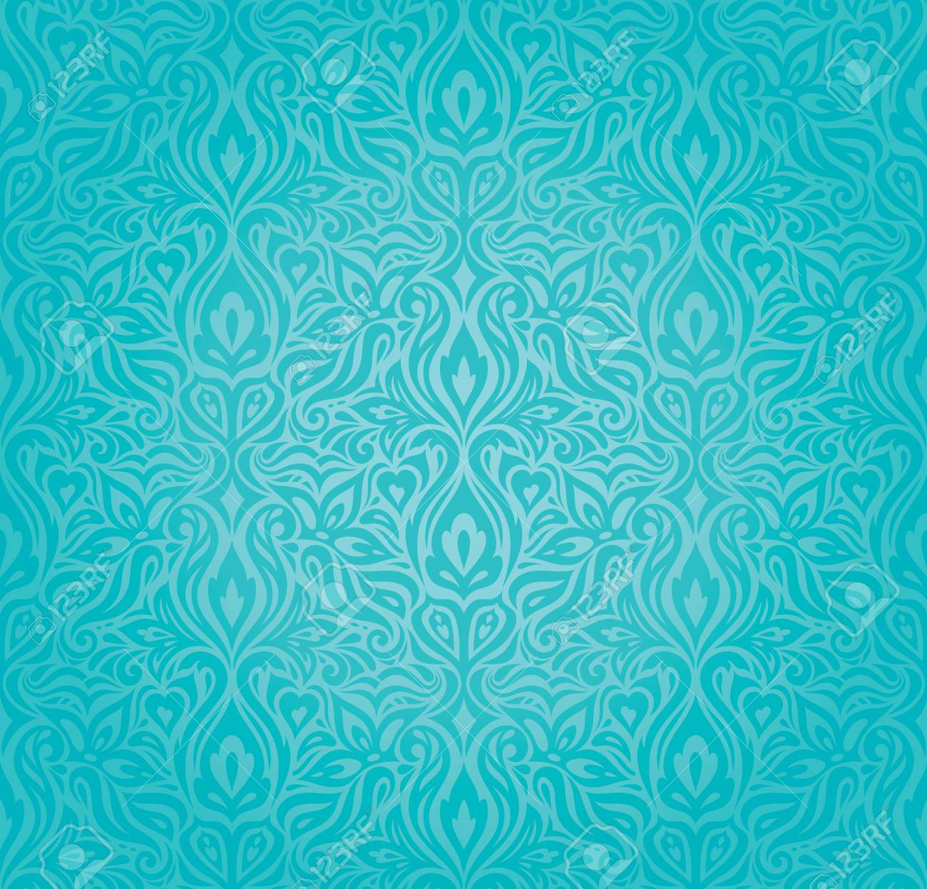 Turquoise Floral Holiday Vintage Background Design Trendy Blue To