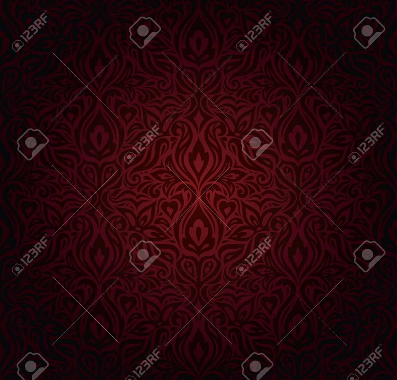 Dark red brown floral wallpaper seamless vector design background in vintage style - 108455925