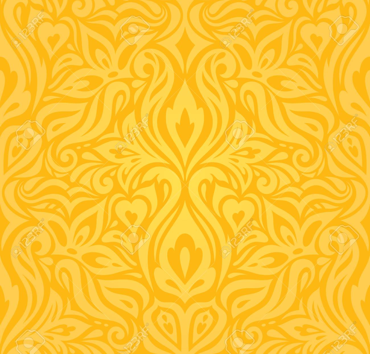 Yellow Colorful Floral Wallpaper Background Floral Pattern Fashion