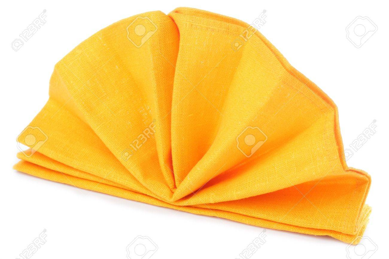 Napkin Folded As A Standing Fan Isolated On White Background Stock Photo Picture And Royalty Free Image Image 9570480