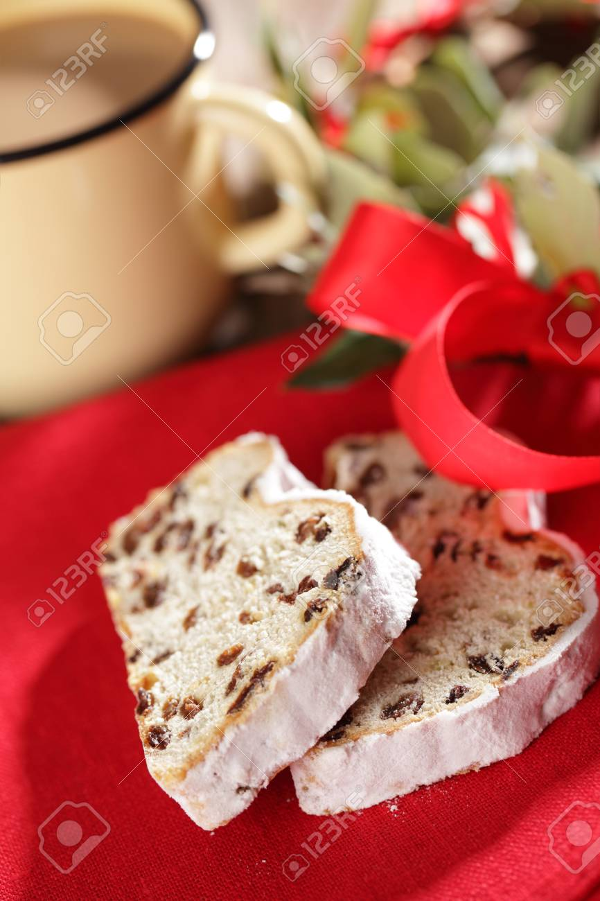 Two slices of Christmas Stollen on a table Stock Photo - 16133599