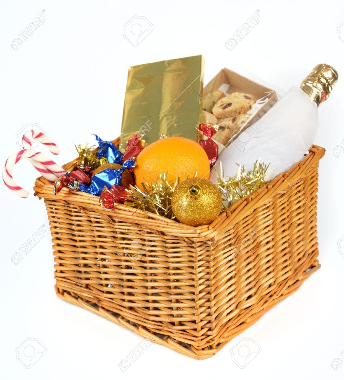 Christmas gift basket isolated on white background stock photo christmas gift basket isolated on white background stock photo 17629111 negle Images