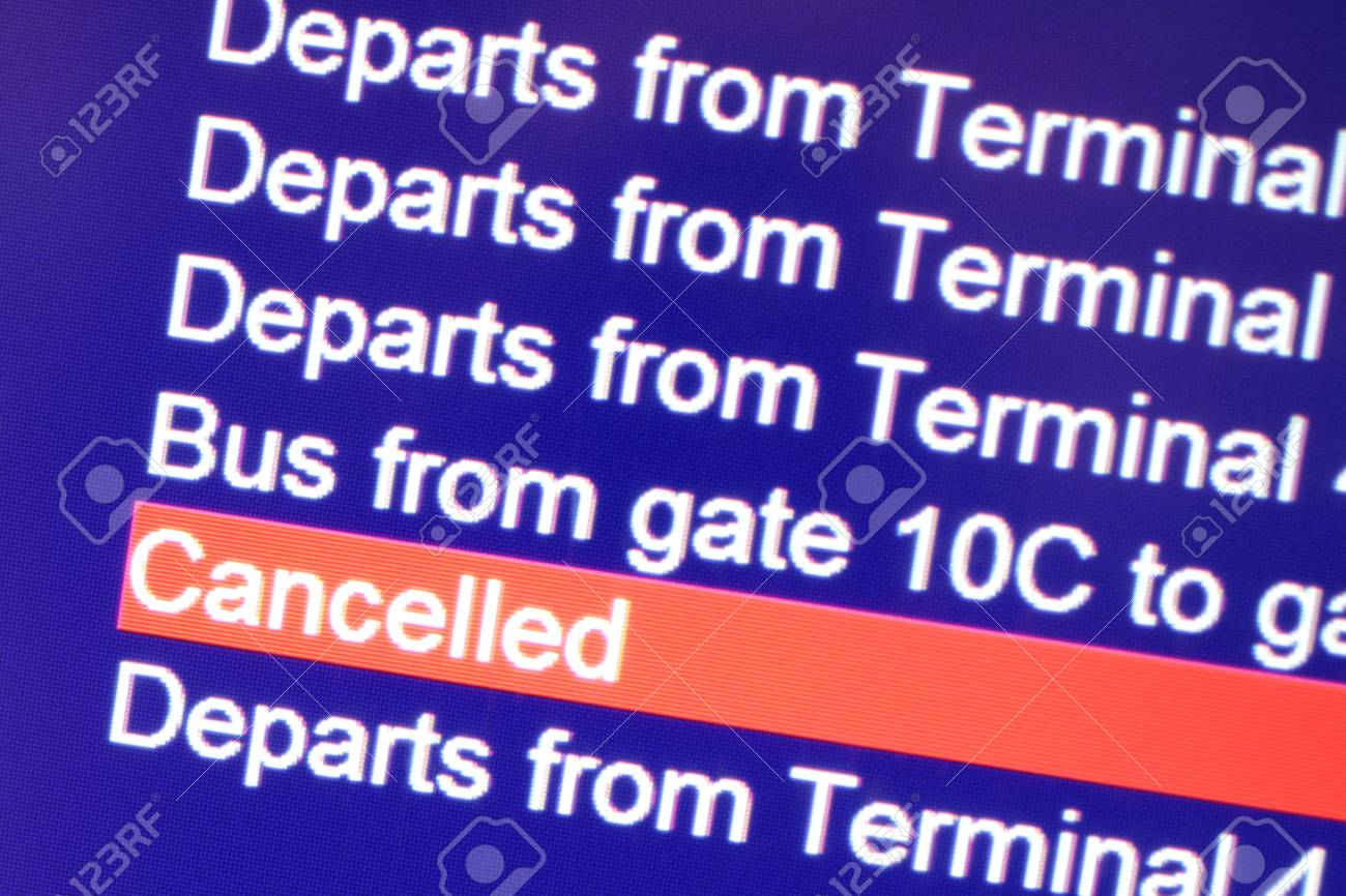 Cancellation message on departure board