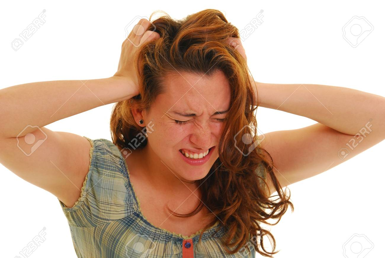 Attractive woman stressed out with hands in her hair Stock Photo - 4872835